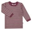 JOHA merino/bio bavlna tričko pískové/vínový proužek